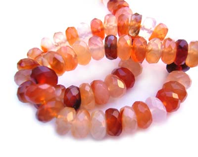 Carnelian Agate ~ Faceted Roundel ~ Gemstone Beads 8x4mm per quarter strand