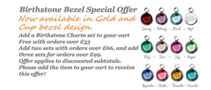 Free Birthstone Bezels Charms, UK Bead Shop