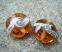Silvered Ivory Swirl 18mm Medium Amber Lentil Handmade Artisan Glass Lampwork Beads - By the Bead, (Made to Order)