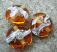 Silvered Ivory Swirl 18mm Medium Amber Lentil Handmade Artisan Glass Lampwork Beads - By the Bead, (Made to Order) b