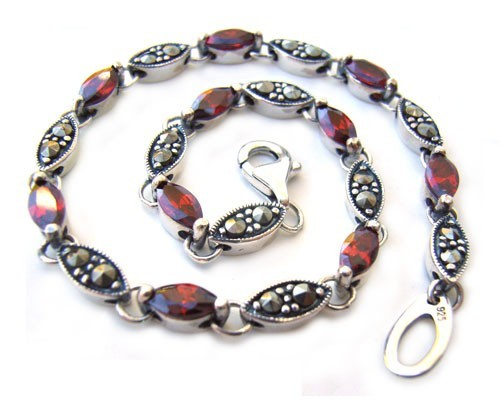 "Sterling Silver Bracelet Marcasite & Siam Cubic Zirconia 7.5"" - 19cm"