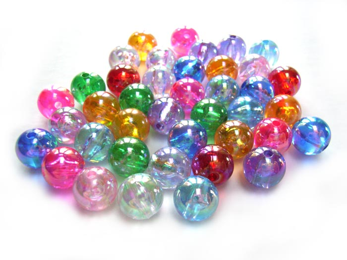 Acrylic Transparent 10mm Round Beads 20g (x40pc) AB Soup Mix