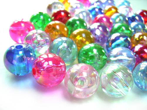 Acrylic Transparent 10mm Round Beads 20g (x40pc) AB Soup Mix  close up