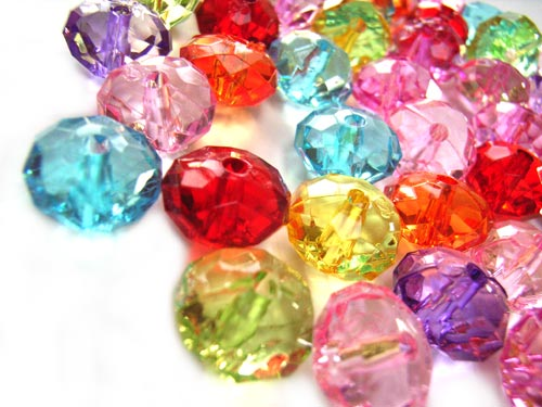 """Acrylic Transparent 11.5x7mm Faceted """"Crystal"""" Roundelle Beads 25g (x48pc) Soup Mix close up"""