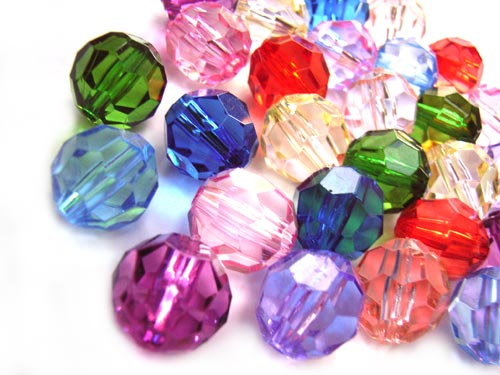 Acrylic Transparent 12.3x11mm Faceted Round Beads 25g (x28pc) Soup Mix  close up