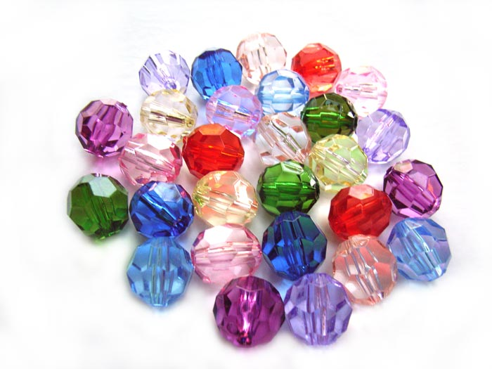 Acrylic Transparent 12.3x11mm Faceted Round Beads 25g (x28pc) Soup Mix
