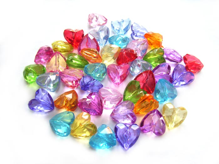 ylic Transparent 12.5x12mm Faceted Heart Beads 25g (x43pc) Soup Mix