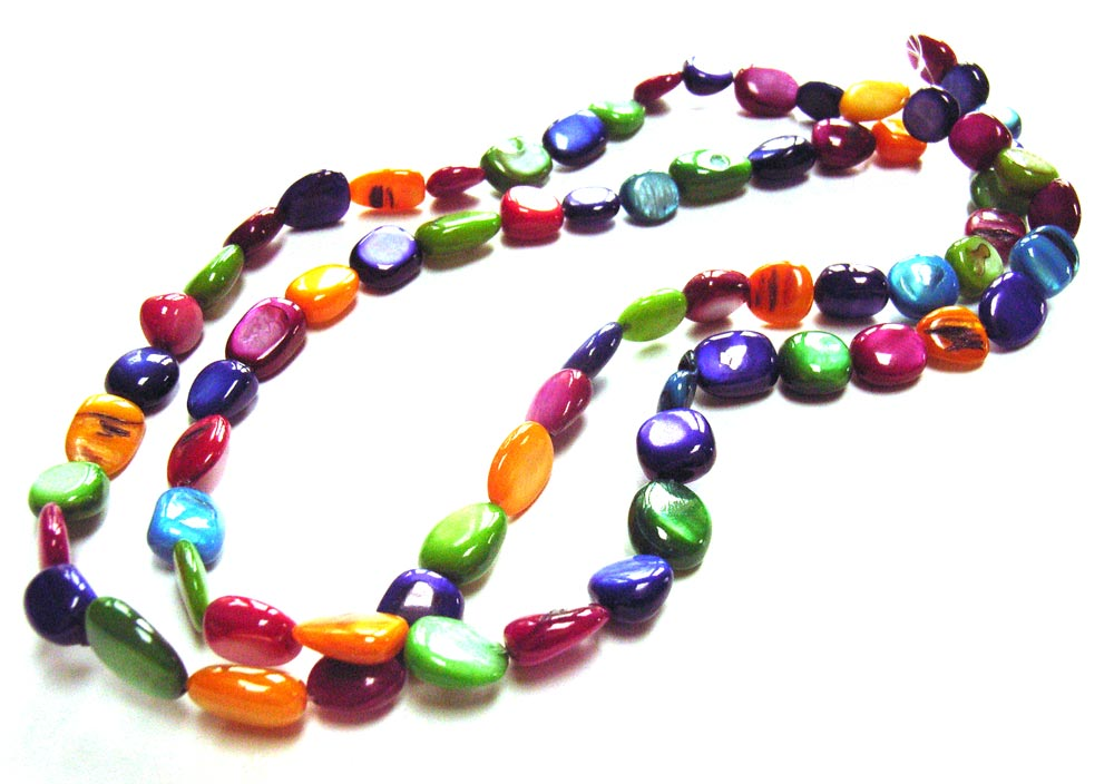 Shell Polished Chip Beads 13x10mm Multi Colour Mix a