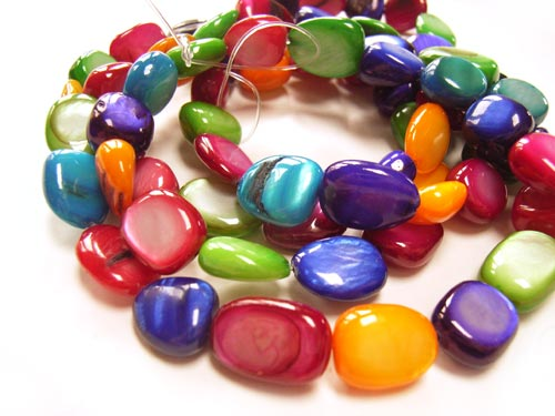 Shell Polished Chip Beads 13x10mm Multi Colour Mix c