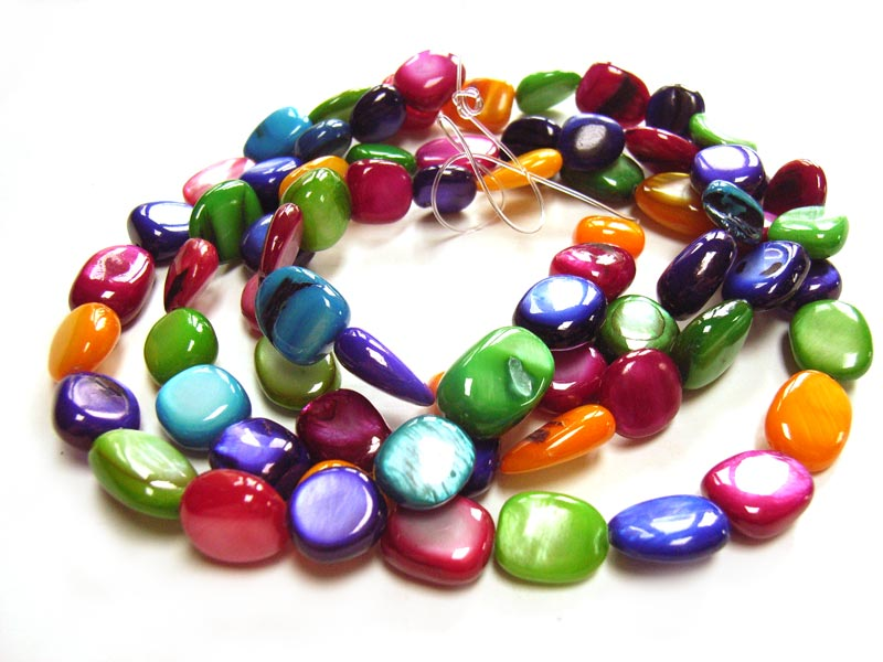 Shell Polished Chip Beads 13x10mm Multi Colour Mix d