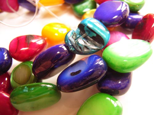 Shell Polished Chip Beads 13x10mm Multi Colour Mix
