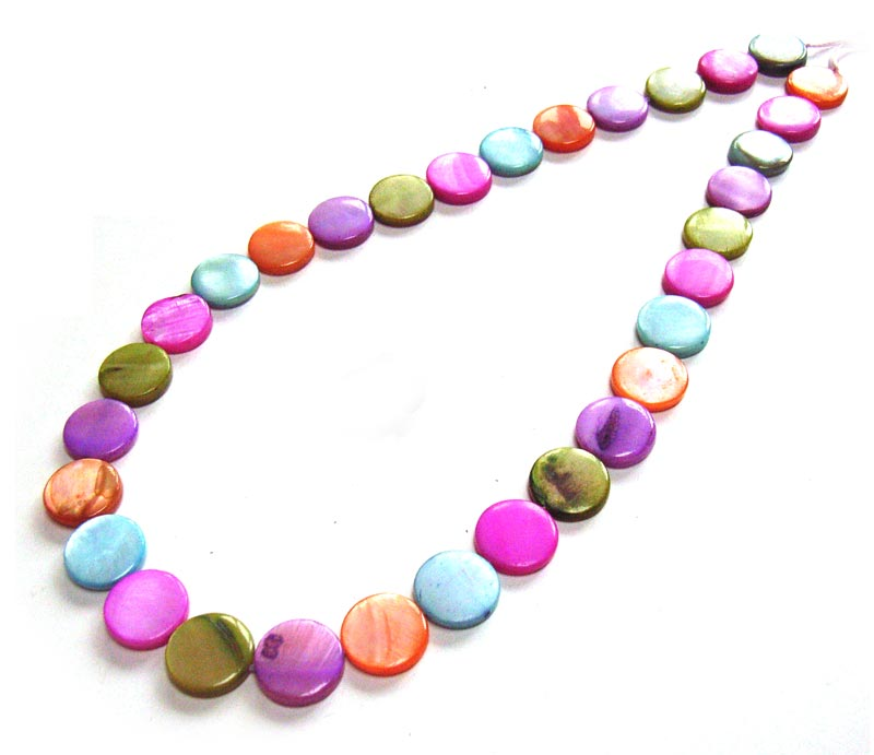 """Shell Coin Button Beads 13mm - Pastel Mix 32 beads per 16"""" strand approx full strand"""