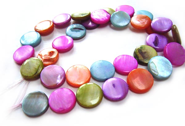 """Shell Coin Button Beads 13mm - Pastel Mix 32 beads per 16"""" strand approx"""