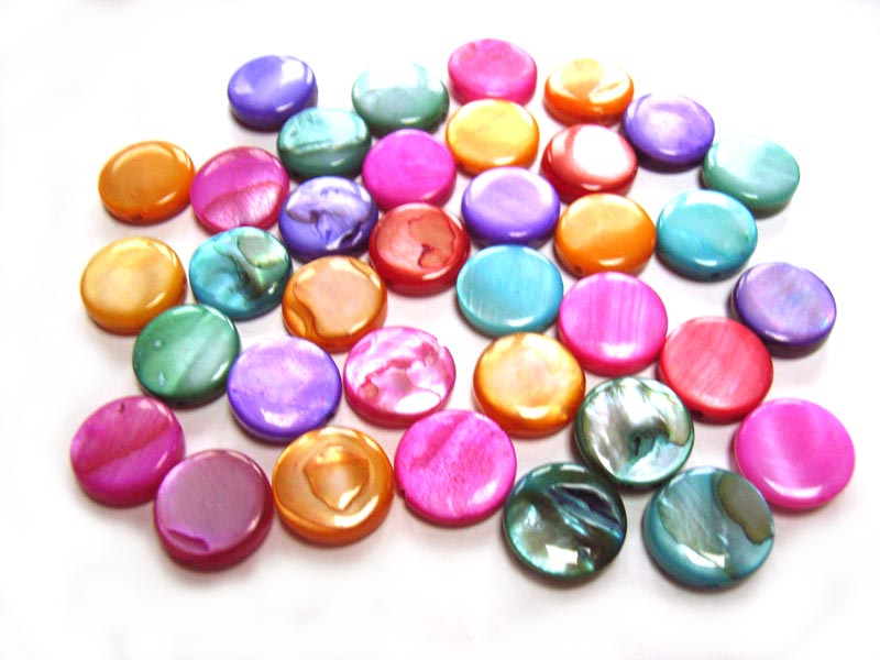 Shell Coin Button Beads 10mm - Multi Mix 20g (x36 approx)