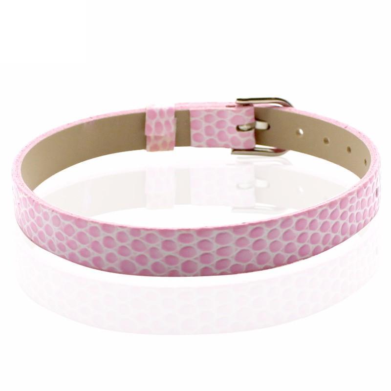 Faux Snakeskin PU Leather Bracelet Cuff Band, 8mm Wide Strip, 6 -7.5 Inch, x1pc, Bubblegum