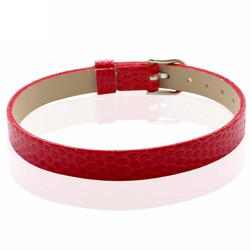 Faux Snakeskin PU Leather Bracelet Cuff Band, 8mm Wide Strip, 6 -7.5 Inch, x1pc, Red