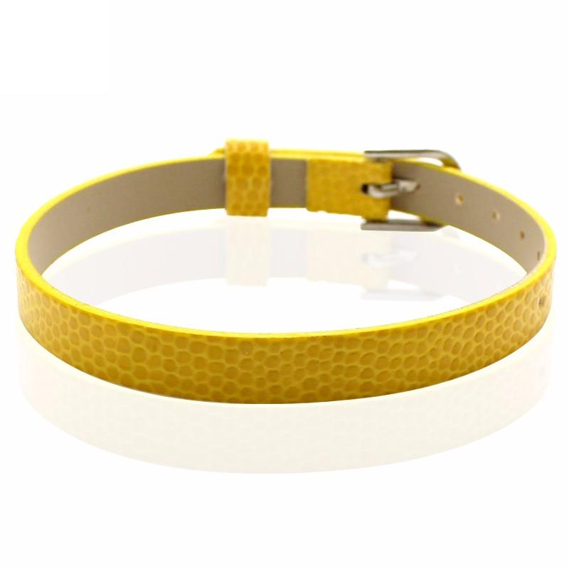 Faux Snakeskin PU Leather Bracelet Cuff Band, 8mm Wide Strip, 6 -7.5 Inch, x1pc, Yellow