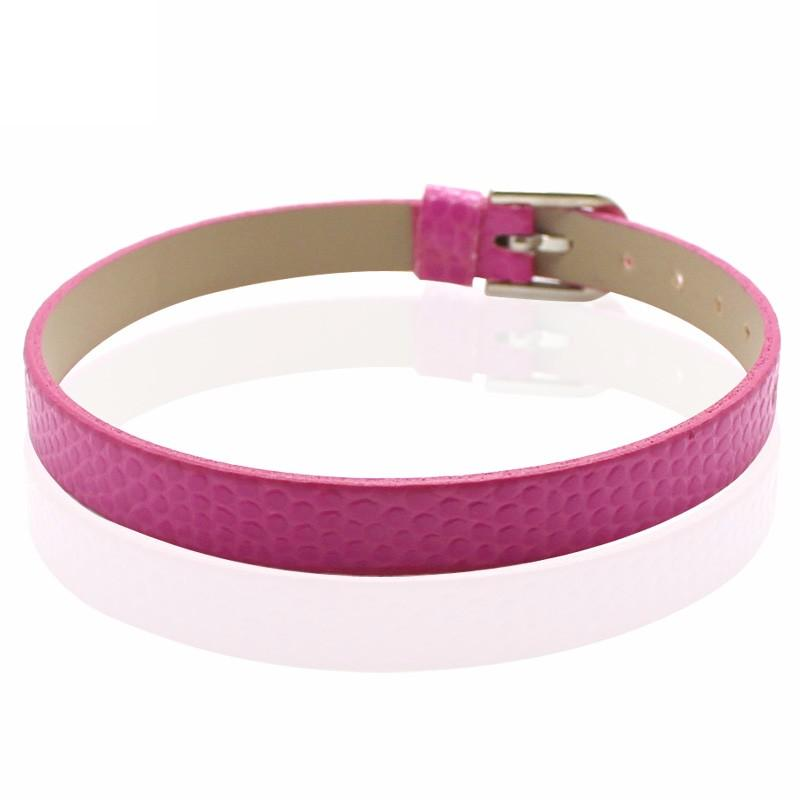 Faux Snakeskin PU Leather Bracelet Cuff Band, 8mm Wide Strip, 6 -7.5 Inch, x1pc, Pink