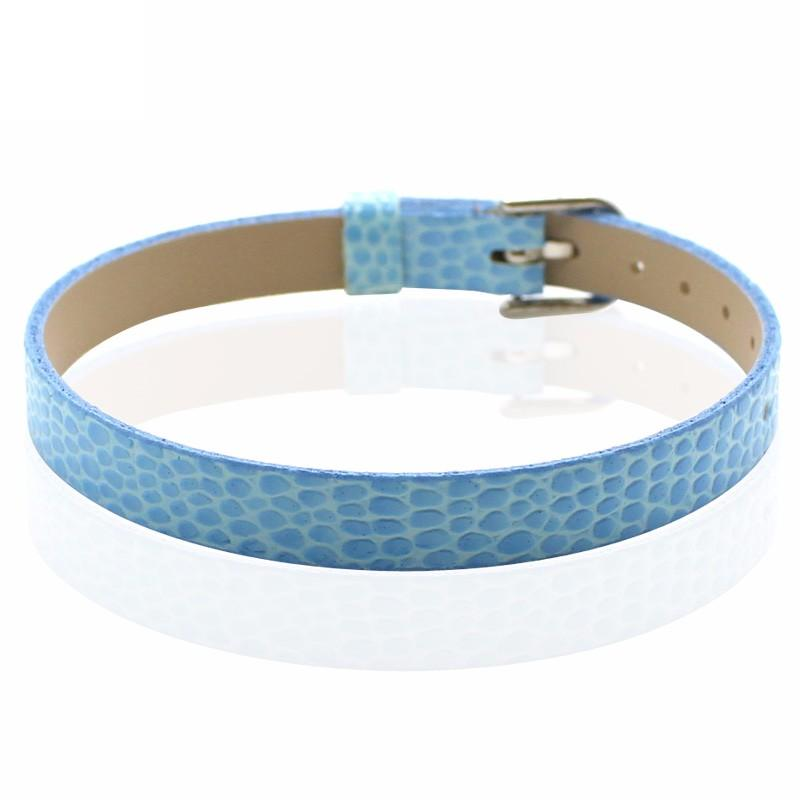 Faux Snakeskin PU Leather Bracelet Cuff Band, 8mm Wide Strip, 6 -7.5 Inch, x1pc, Sky
