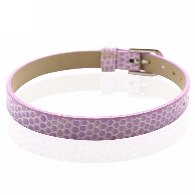 Faux Snakeskin PU Leather Bracelet Cuff Band, 8mm Wide Strip, 6 -7.5 Inch, x1pc, Lilac