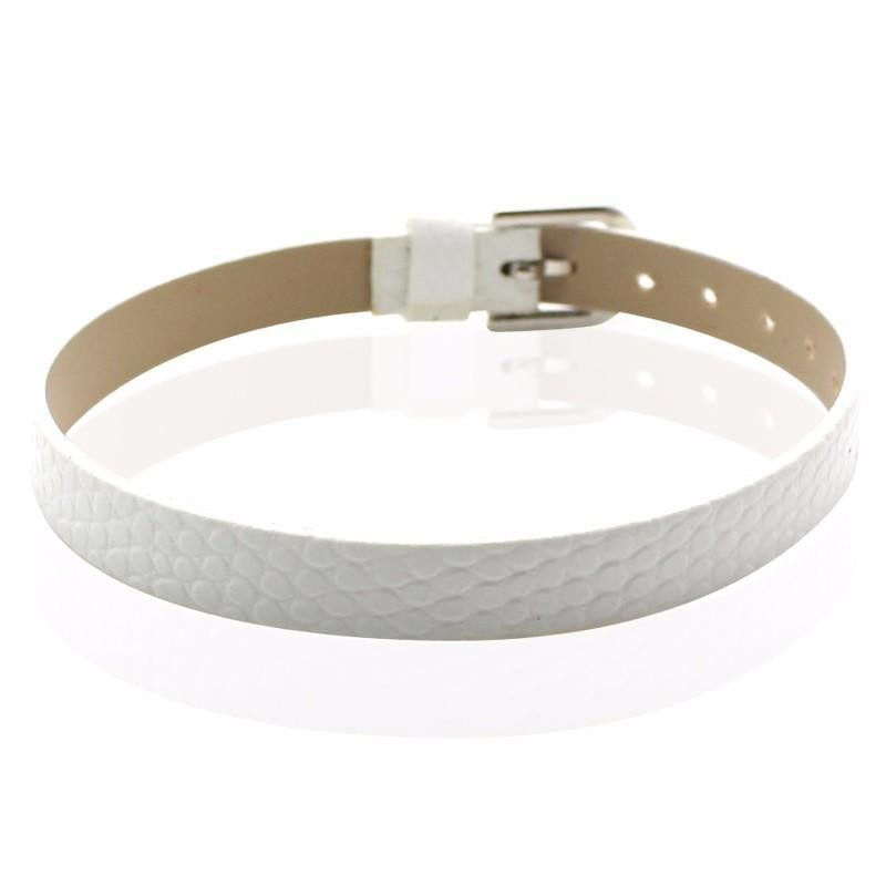 Faux Snakeskin PU Leather Bracelet Cuff Band, 8mm Wide Strip, 6 -7.5 Inch, x1pc, White