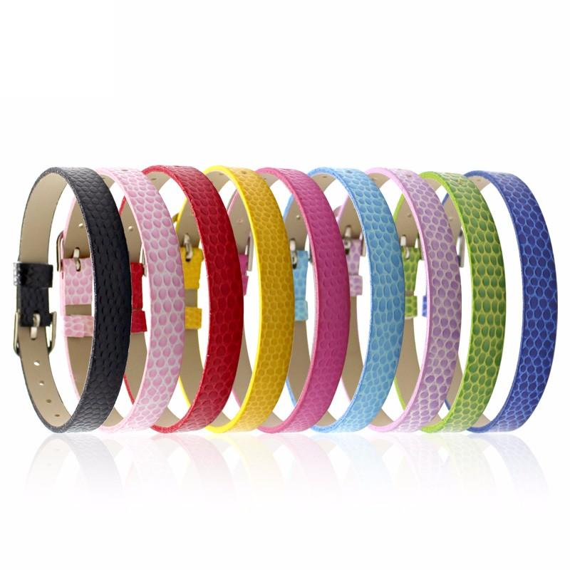 Faux Snakeskin PU Leather Bracelet Cuff Band, 8mm Wide Strip, 6 -7.5 Inch, x10pc, MIX