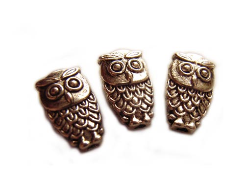 Antiqued Silver Tone 10x6mm Owl Beads x3