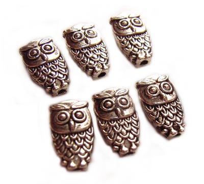 Antiqued Silver Tone 10x6mm Owl Beads x6
