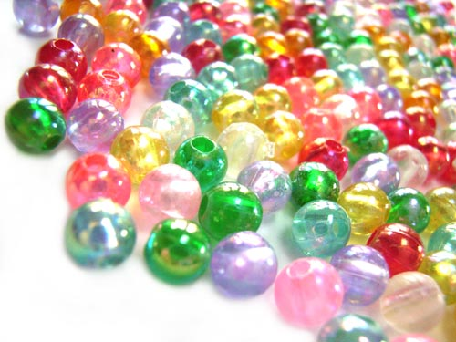 Acrylic Transparent 5mm Round Beads 15g (x275pc) AB Soup Mix close up