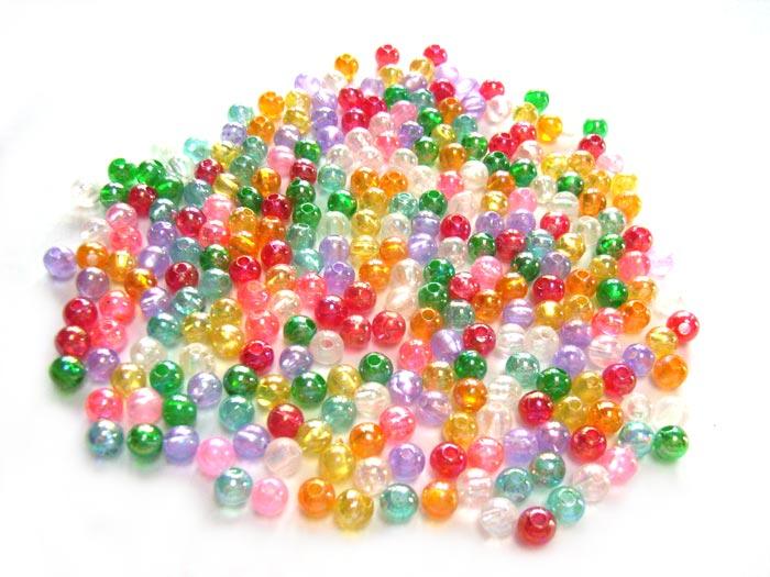 Acrylic Transparent 5mm Round Beads 15g (x275pc) AB Soup Mix