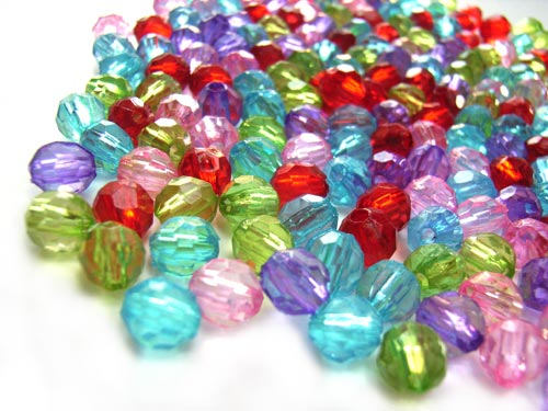 Acrylic Transparent 6x5.5mm Faceted Round Beads 20g (x195pc) Soup Mix  close up