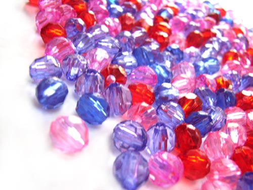 Acrylic Transparent 6x5.5mm Faceted Round Beads 20g (x195pc) Purple Soup Mix close up