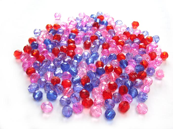 Acrylic Transparent 6x5.5mm Faceted Round Beads 20g (x195pc) Purple Soup Mix