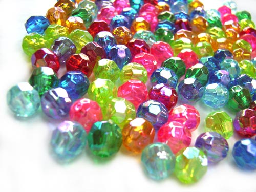 Acrylic Transparent 6x5.5mm Faceted Round Beads 12g (x125pc) AB Soup Mix close up