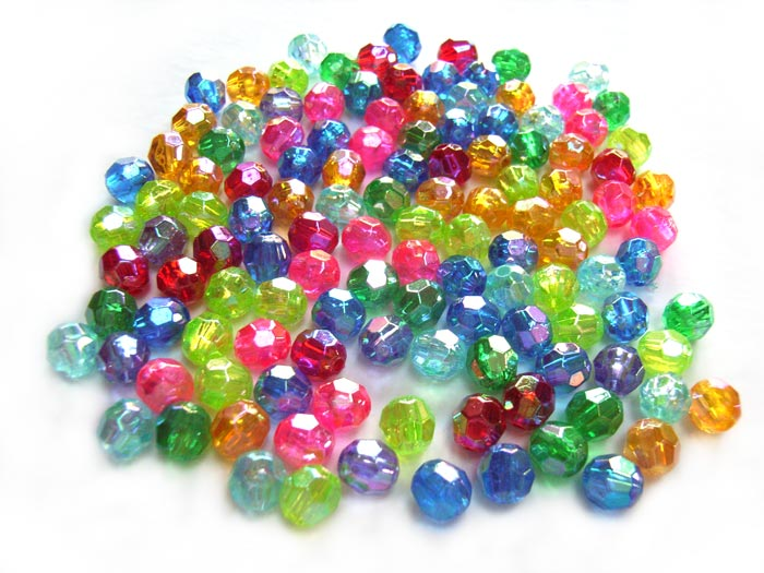 Acrylic Transparent 6x5.5mm Faceted Round Beads 12g (x125pc) AB Soup Mix
