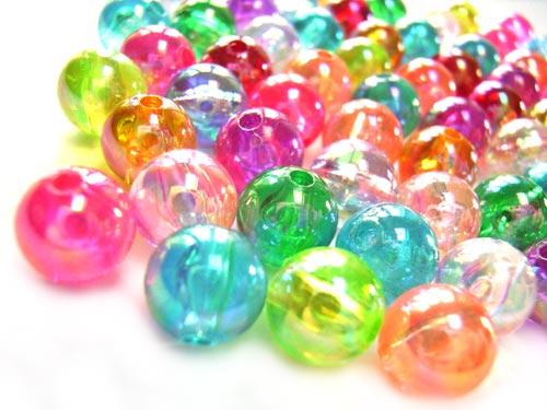 Acrylic Transparent 8mm Round Beads 15g (x60pc) AB Soup Mix  close up