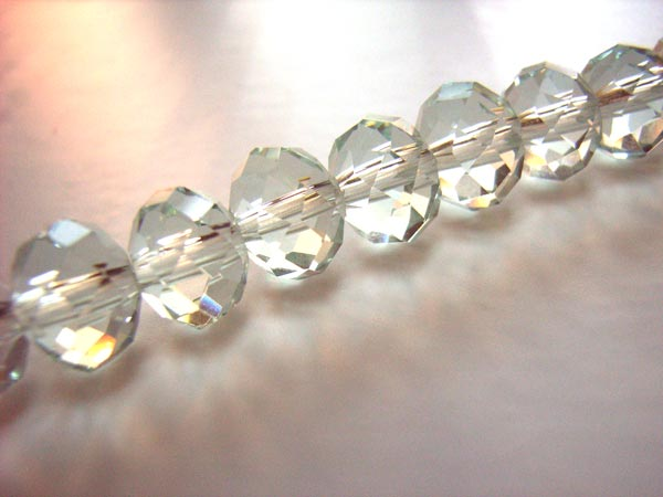 Imperial Crystal Roundelle Beads 8x6mm Crystal Glass Tinted