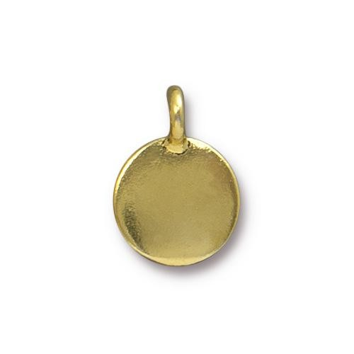 TierraCast Pewter Gold Plated Blank Charm (Stampable) x1