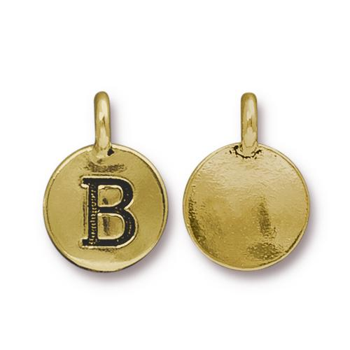 TierraCast Pewter Gold Plated Alphabet Charm, Letter B