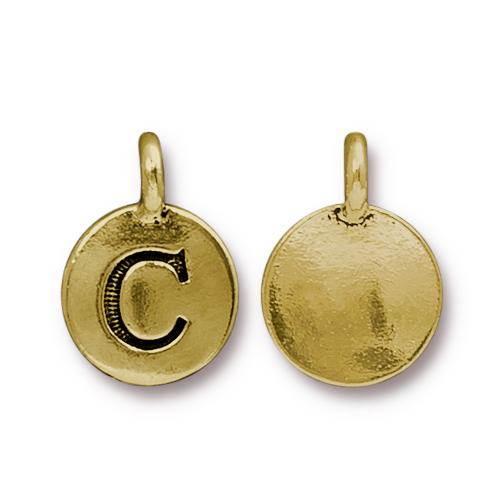 TierraCast Pewter Gold Plated Alphabet Charm, Letter C
