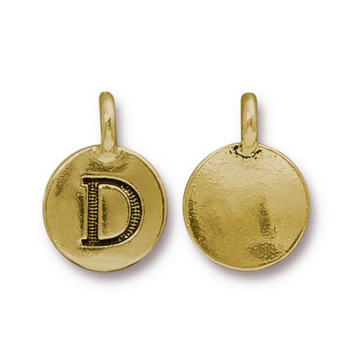 TierraCast Pewter Gold Plated Alphabet Charm, Letter D