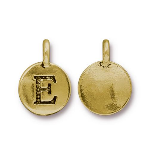 TierraCast Pewter Gold Plated Alphabet Charm, Letter E