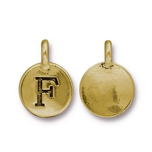 TierraCast Pewter Gold Plated Alphabet Charm, Letter F