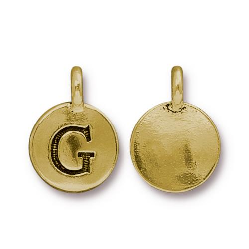 TierraCast Pewter Gold Plated Alphabet Charm, Letter G