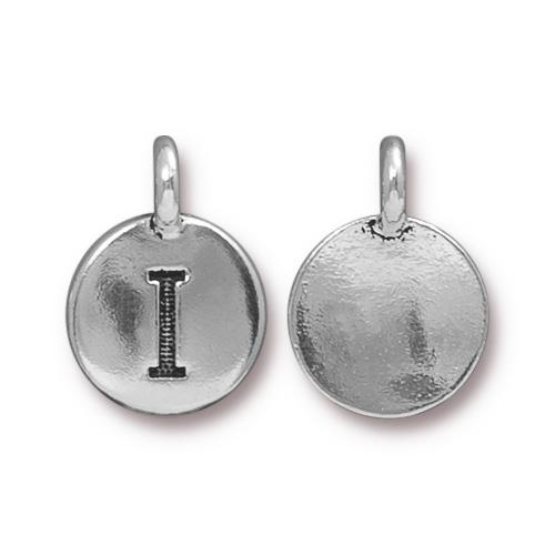 TierraCast Pewter Silver Plated Alphabet Charm, Letter I