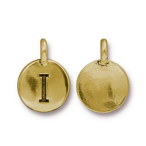 TierraCast Pewter Gold Plated Alphabet Charm, Letter I