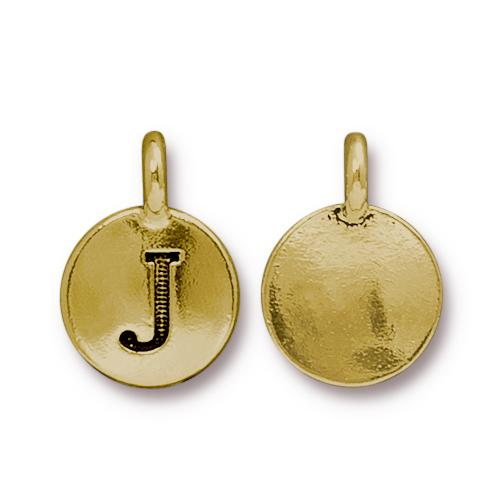 TierraCast Pewter Gold Plated Alphabet Charm, Letter J