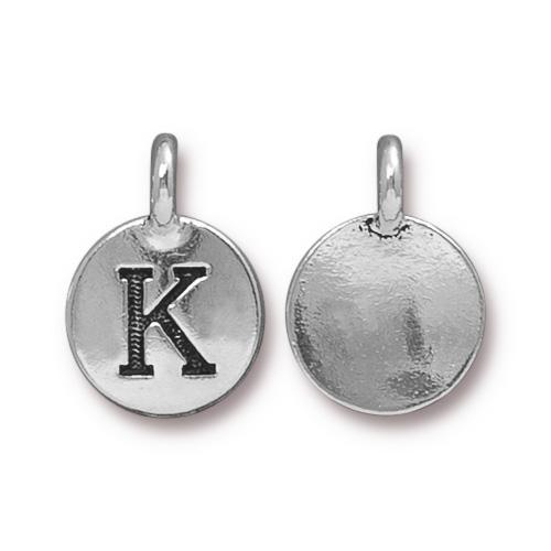 TierraCast Pewter Silver Plated Alphabet Charm, Letter K