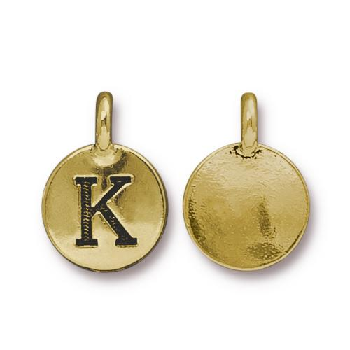 TierraCast Pewter Gold Plated Alphabet Charm, Letter K