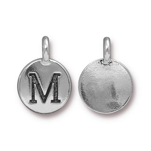 TierraCast Pewter Silver Plated Alphabet Charm, Letter M